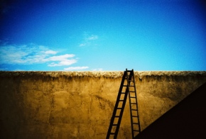wall, ladder, shadow & sky
